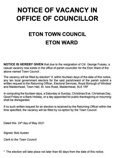 Notice of Casual Vacancy. Apply by 11 June 2021